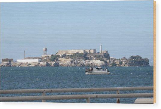 Alcatraz Island And Charter Fishing Boat Wood Print