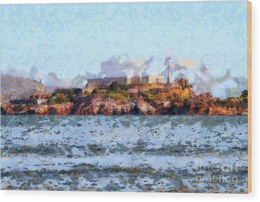 Alcatraz Island In San Francisco California . 7d14031 Wood Print by Wingsdomain Art and Photography