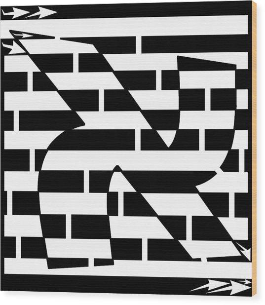 Aleph Maze Wood Print by Yonatan Frimer Maze Artist