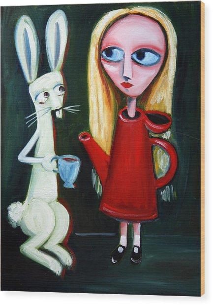 Alice A Tea Pot Wood Print