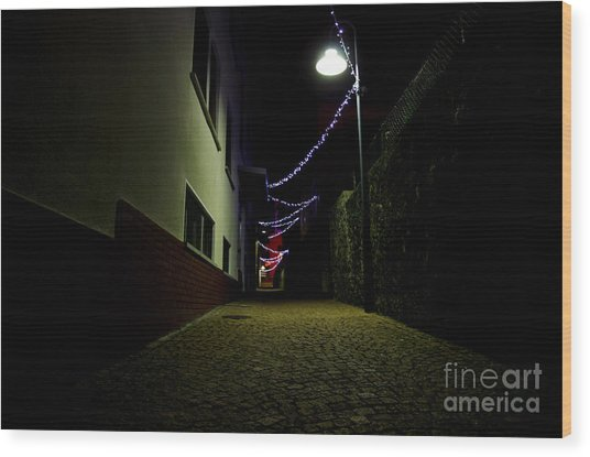 Alley With Lights Wood Print