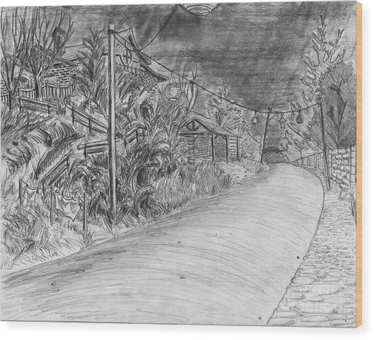 Alliance Boulevard By Lantern Light Wood Print by Jonathan Armes