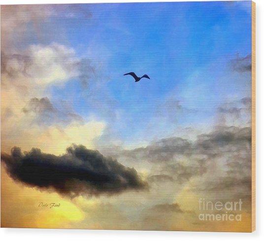 Alone In A Big Sky Wood Print