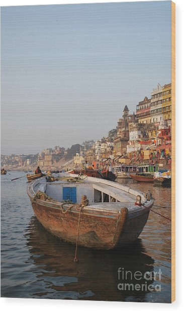 Alone On The Ganges Wood Print by Jen Bodendorfer