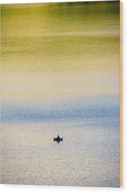 Alone On The Lake Wood Print
