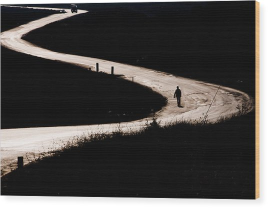 Alone On The Road Wood Print