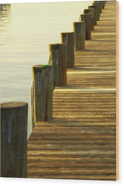 Along The Pier Wood Print