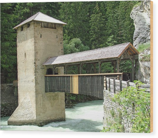 Altfinstermunz Bridge Nauders Switzerland Wood Print by Joseph Hendrix