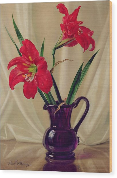 Amaryllis Lillies In A Dark Glass Jug Wood Print