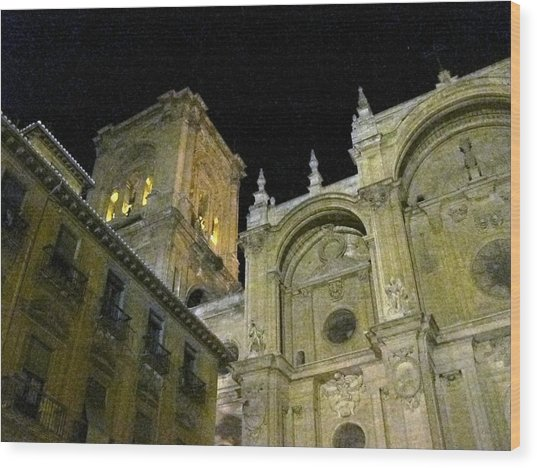Amazing Exterior Architecture Of Cathedral At Night Granada Spain Wood Print
