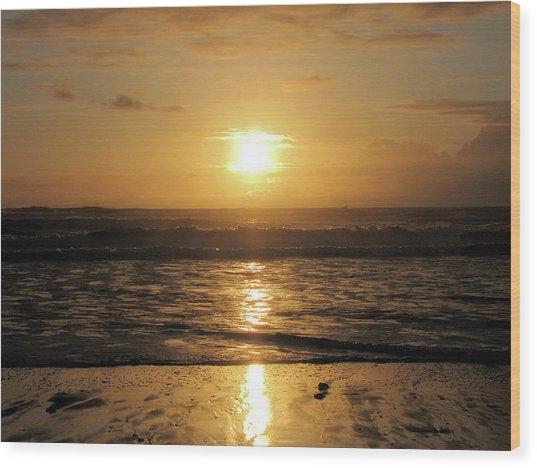 Amber Sunset Pacific Wood Print