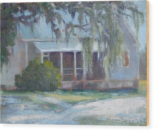 Amelia Island Spanish Moss Wood Print by Sandra Harris