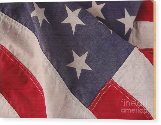 America Flag Wood Print by Ruby Hummersmith