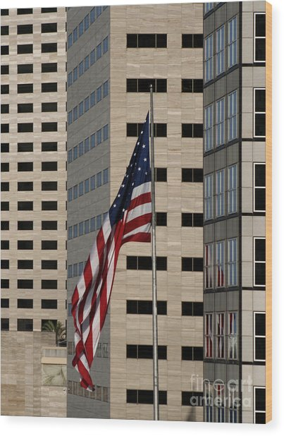 American Flag In The City Wood Print