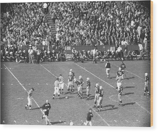 American Football Match, (b&w), Elevated View Wood Print by George Marks