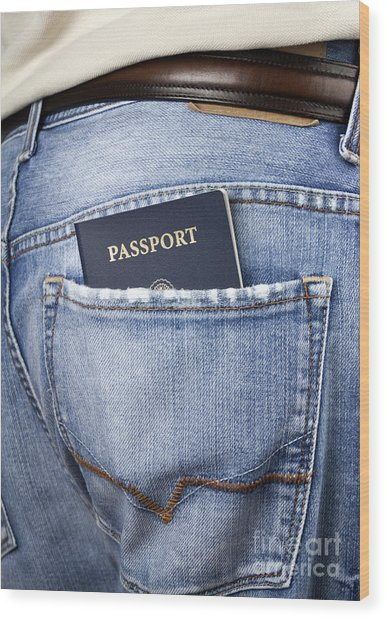 American Passport In Back Pocket Wood Print by Blink Images