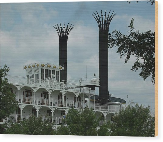 American Queen Smokestacks Wood Print by Willy  Nelson