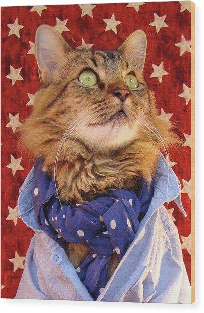 Americana Cat Wood Print