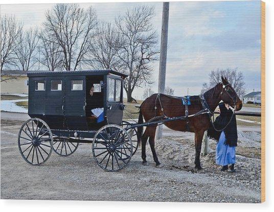 Amish Women Wood Print by Brenda Becker