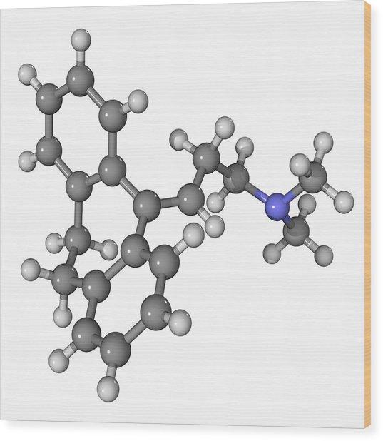 Amitriptyline Antidepressant Molecule Wood Print by Laguna Design