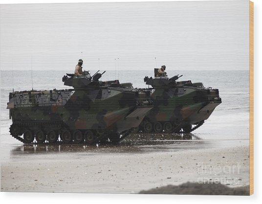 Amphibious Assault Vehicles Land Ashore Wood Print