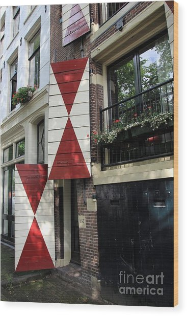 Amsterdam House Facade Wood Print by Sophie Vigneault