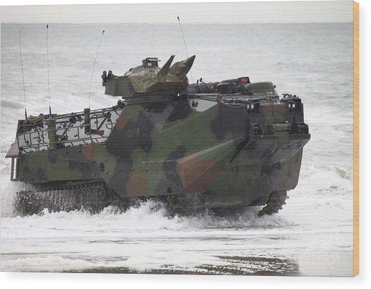 An Amphibious Assault Vehicle Drives Wood Print