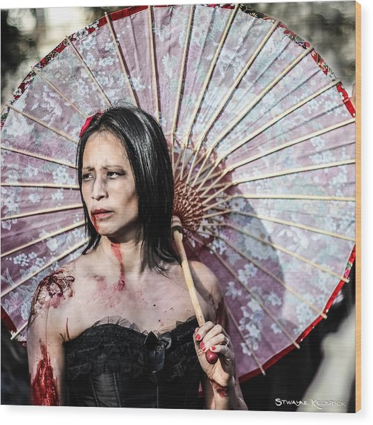 Wood Print featuring the photograph An Asian Zombie by Stwayne Keubrick