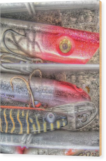 An Hdr Of Fishing Lures Wood Print by Jennifer Holcombe