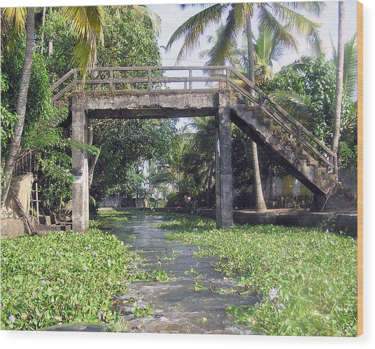 An Old Stone Bridge Over A Canal In Alleppey Wood Print