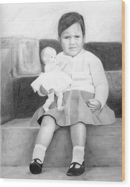 Ana With Dolly Wood Print