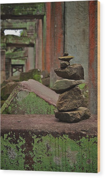 Ancient Rock Formation Wood Print by Arj Munoz