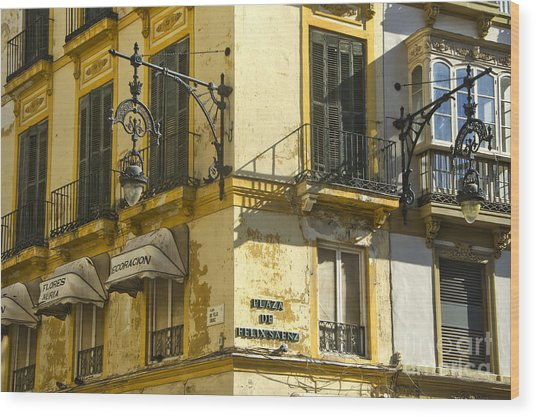 Andalusian Spanish Facade Wood Print by Perry Van Munster
