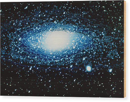Andromeda Galaxy With Brightness Contour Lines Wood Print by Laguna Design