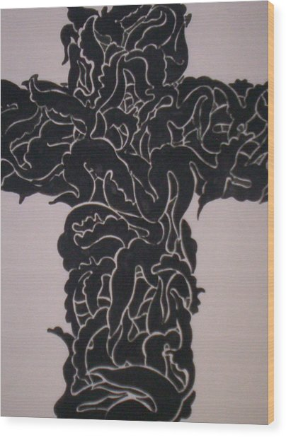 Angel Cross  Wood Print by Lee Thompson