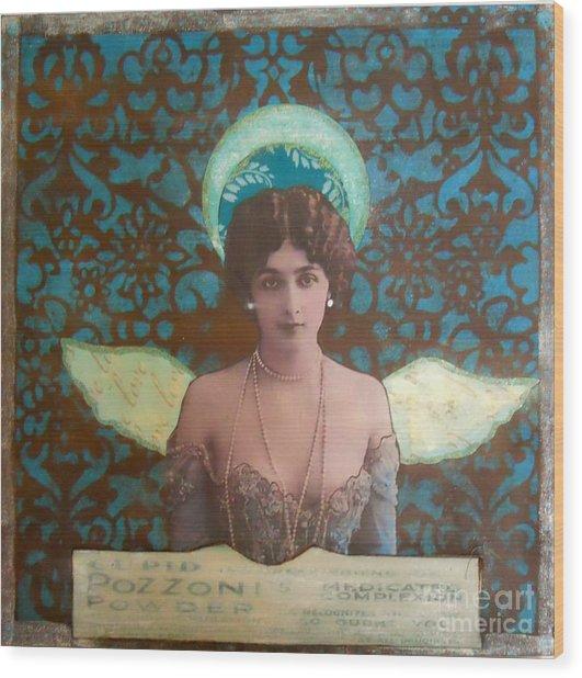 Angel In Blue Wood Print