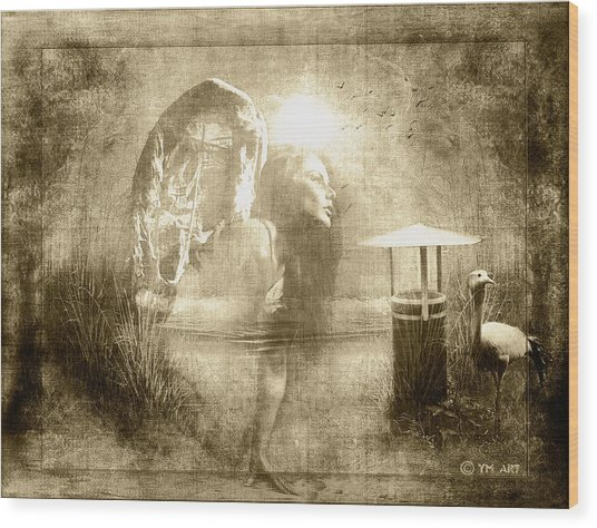 Angel Spirit Sepia Wood Print