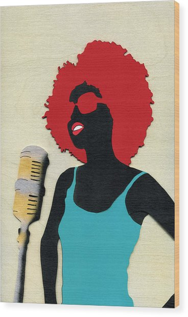 Angela Sings Wood Print