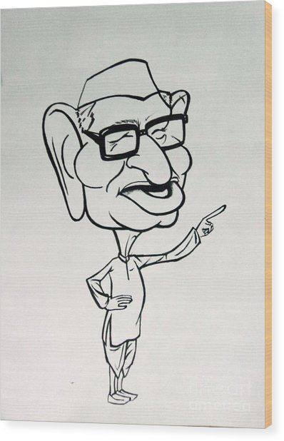 Anna Hazare Wood Print by Tanmay Singh