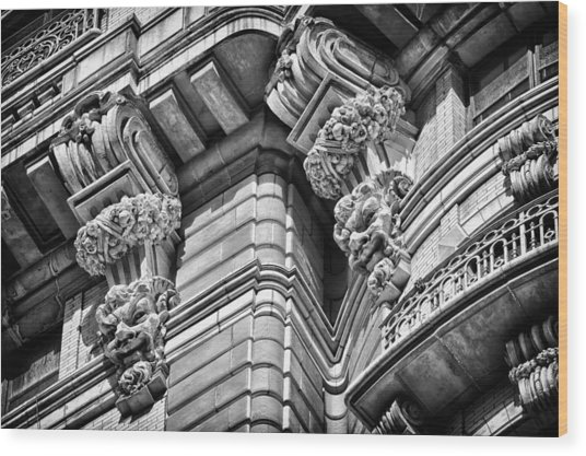 Ansonia Building Detail 42 Wood Print by Val Black Russian Tourchin