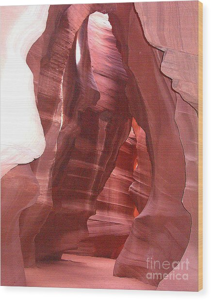 Antelope Slot Canyon View Just Inside Entrance Wood Print by Merton Allen