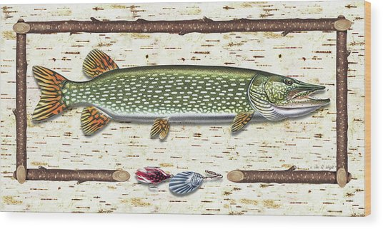 Antique Birch Pike And Lure Wood Print