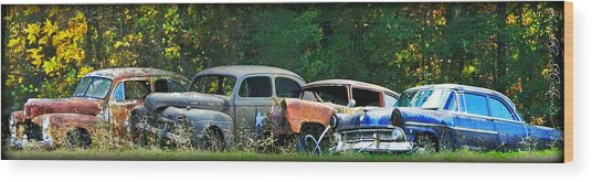 Antique Cars Graveyard Wood Print