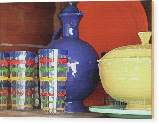 Antique Fiesta Dishes 3 Wood Print by Marilyn West