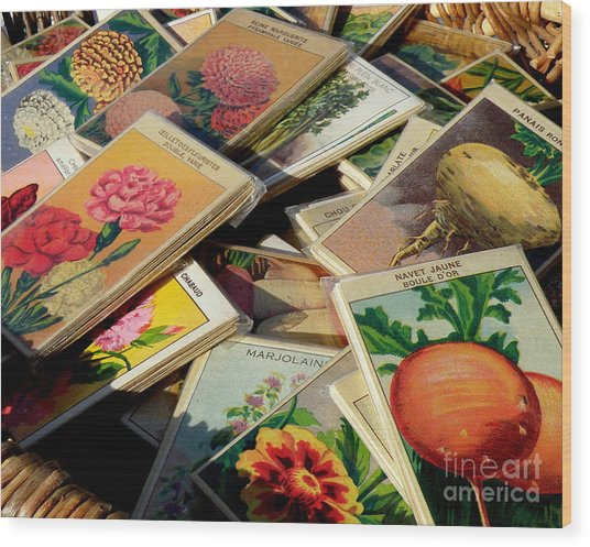 Antique French Seed Packs Wood Print