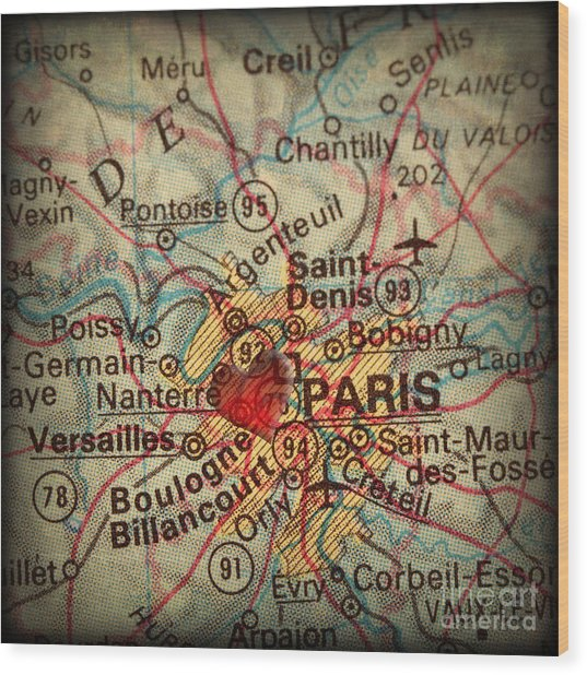 Antique Map With A Heart Over The City Of Paris In France Wood Print by ELITE IMAGE photography By Chad McDermott
