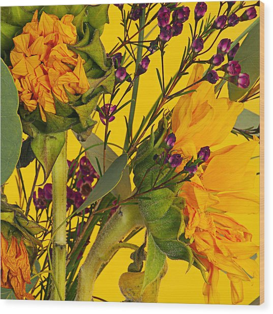 Antique Sunflower Wood Print by Michelle Armstrong