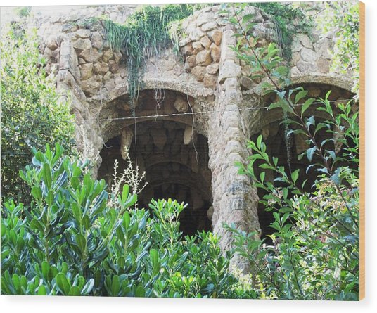 Antoni Gaudi Columns And Stone Work In Park Guell Barcelona Spain Wood Print by John Shiron