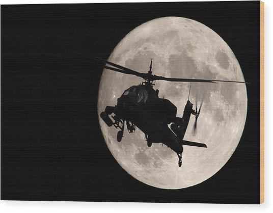 Apache In The Moonlight Wood Print