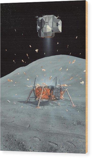 Apollo 17 Ascent Stage, Artwork Wood Print by Richard Bizley